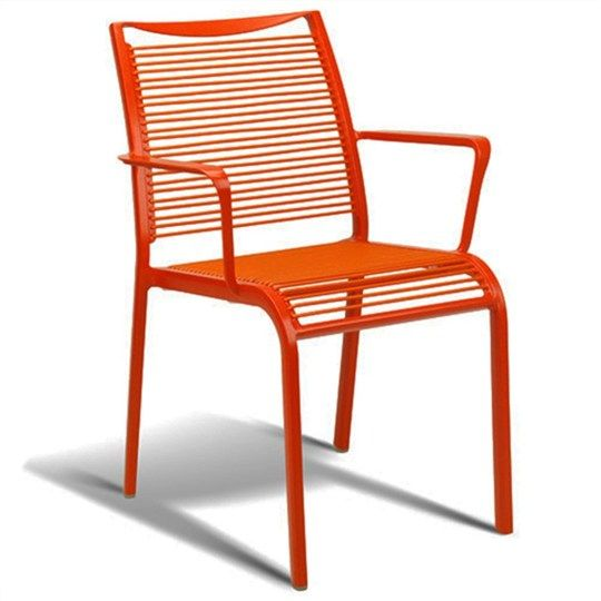 Waikiki Commercial Grade Aluminum Stackable Armchair   Red