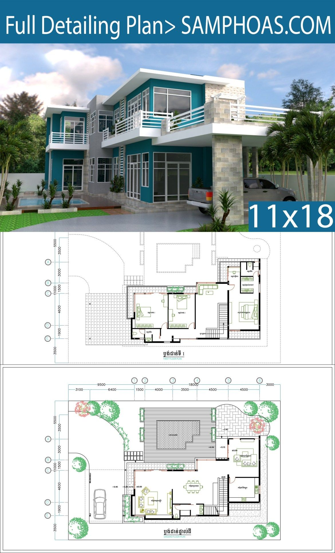 3 Bedrooms Villa Design Plan 11x18m Samphoas Plansearch Villa Design Home Design Plans House Design