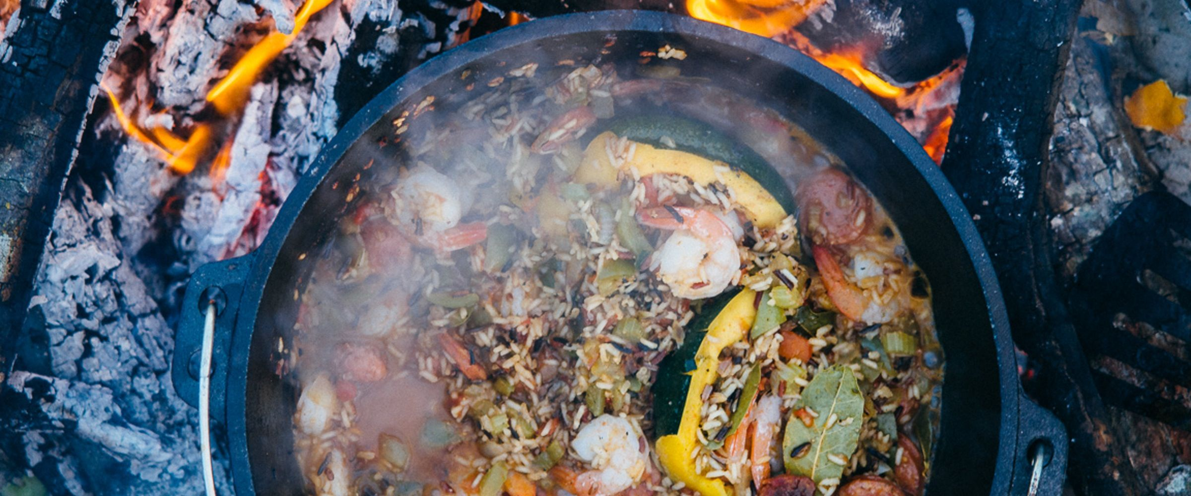 With a tasty blend of rice, veggies, shrimp, and sausage, and a relatively easy cooking process, Jambalaya is the perfect meal to feed lots of hungry mouths on your next big camping trip.