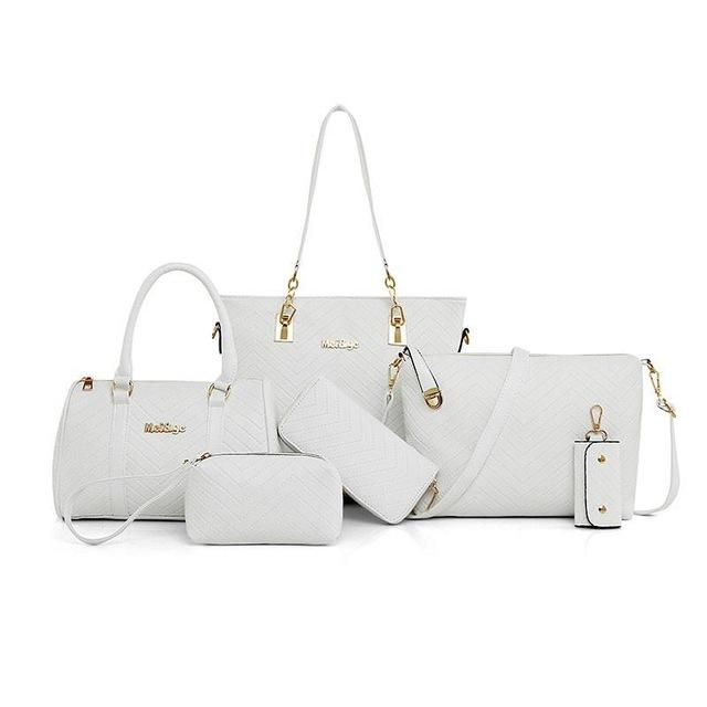 6a7ee29347 NEW Brand Luxury Lady Handbag 6 Pcs set Composite Bags Set Women Shoulder  Crossbody Bag Female Purse Clutch Wallet