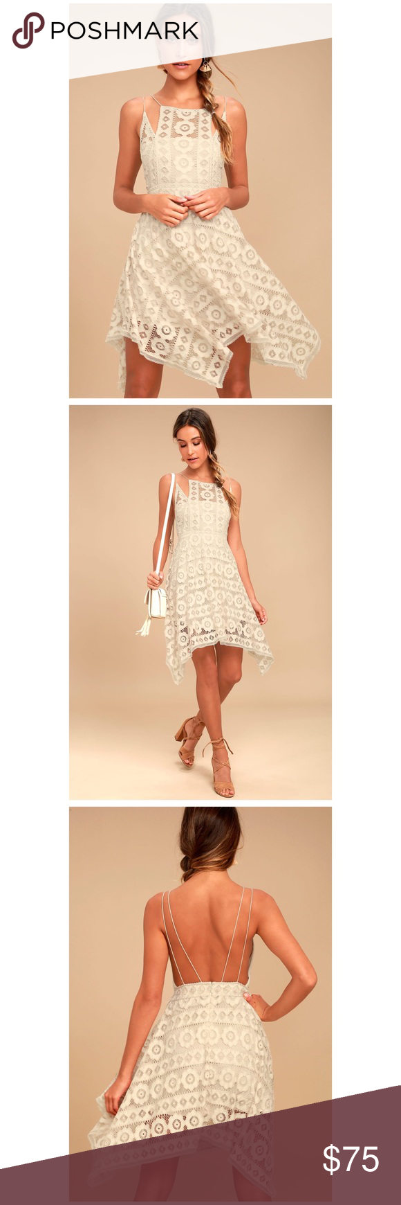 Free People Honey Lace Dress The Free People Just Like Honey Beige Lace Dress is as sweet-as-can-be! Romantic lace overlay forms this sleeveless dress with a unique, high neckline, and crochet lace princess seams. Skirt falls to flirty length with handkerchief hem. Braided double straps and hidden back zipper/clasp. Lined--Brand new. Self: 72% Nylon, 28% Cotton. Lining: 100% Rayon. Hand Wash Cold.                                                   NO TRADES Free People Dresses Midi