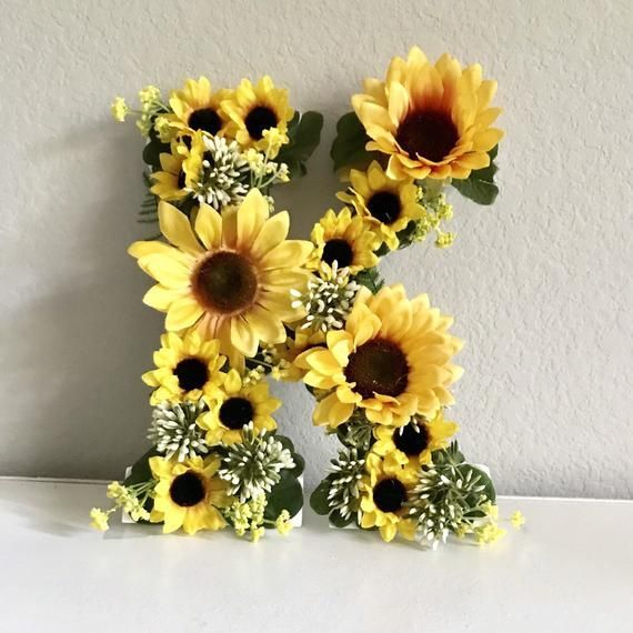 "Flower Letter, 9"", 13"" or 24 Custom Letter, Floral Letter, Baby Shower Decor, Birthday Party Decor, Flower Nursery Decor, Sunflower Decor"