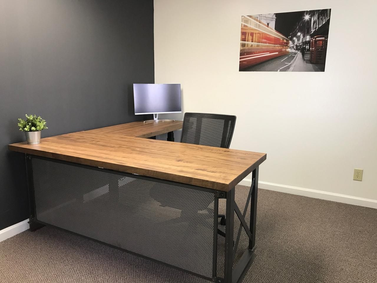 Executive Carruca Office Desk Lshape Image 0 Small Office Furniture Industrial Office Furniture Vintage Industrial Dining Table