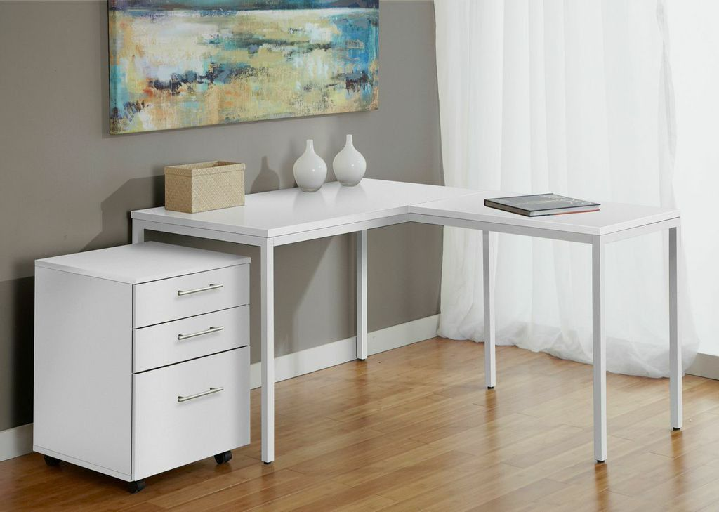 Beautiful Modern White L Shaped Corner Parsonu0027s Desk With Mobile File Cabinet