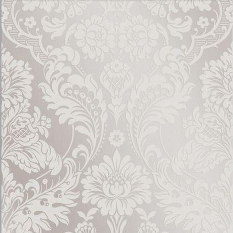 Gothic Damask Flock Wallpaper - White