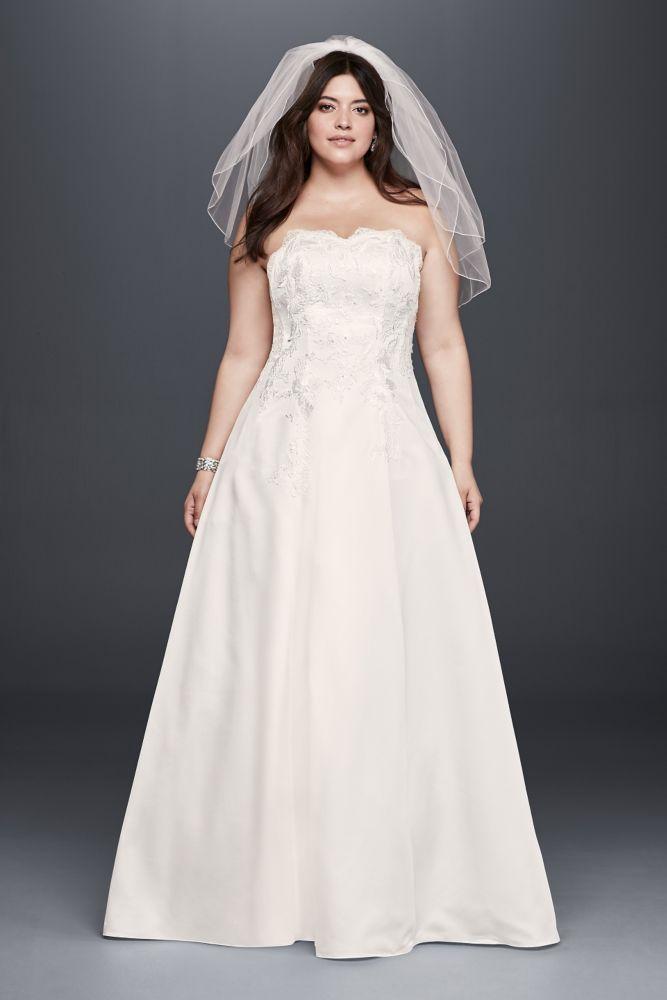 Appliqued Satin A-Line Plus Size Wedding Dress - Ivory / Champagne ...