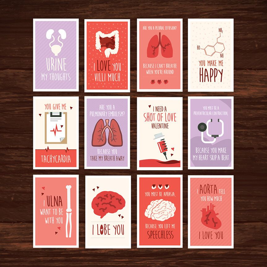 Funny Nurse Valentines Day Card Full Set Download  12 Printable