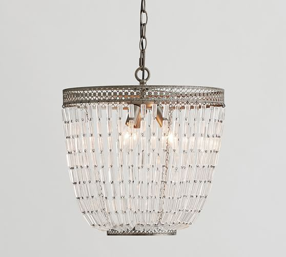 """Fiona Crystal Chandelier  Overall: 16"""" diameter, 15"""" high  Height: minimum 22.5""""; maximum 94.5"""" (approximately 7.5')  Canopy: 5'' diameter, 1'' high  Cord: 10' long  Chain: 6' long  Bulb (3): 40 watts, type B or 9 W CFL (not included)   $212 PB sale"""