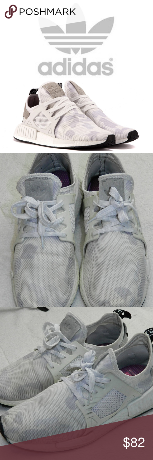 736204a03785c ADIDAS NMD XRI Camo Patch SNEAKERS White Mens 10 Some wear here and there  to shoes---see photos. LOTS of life left!! New inserts in shoes---included  in ...
