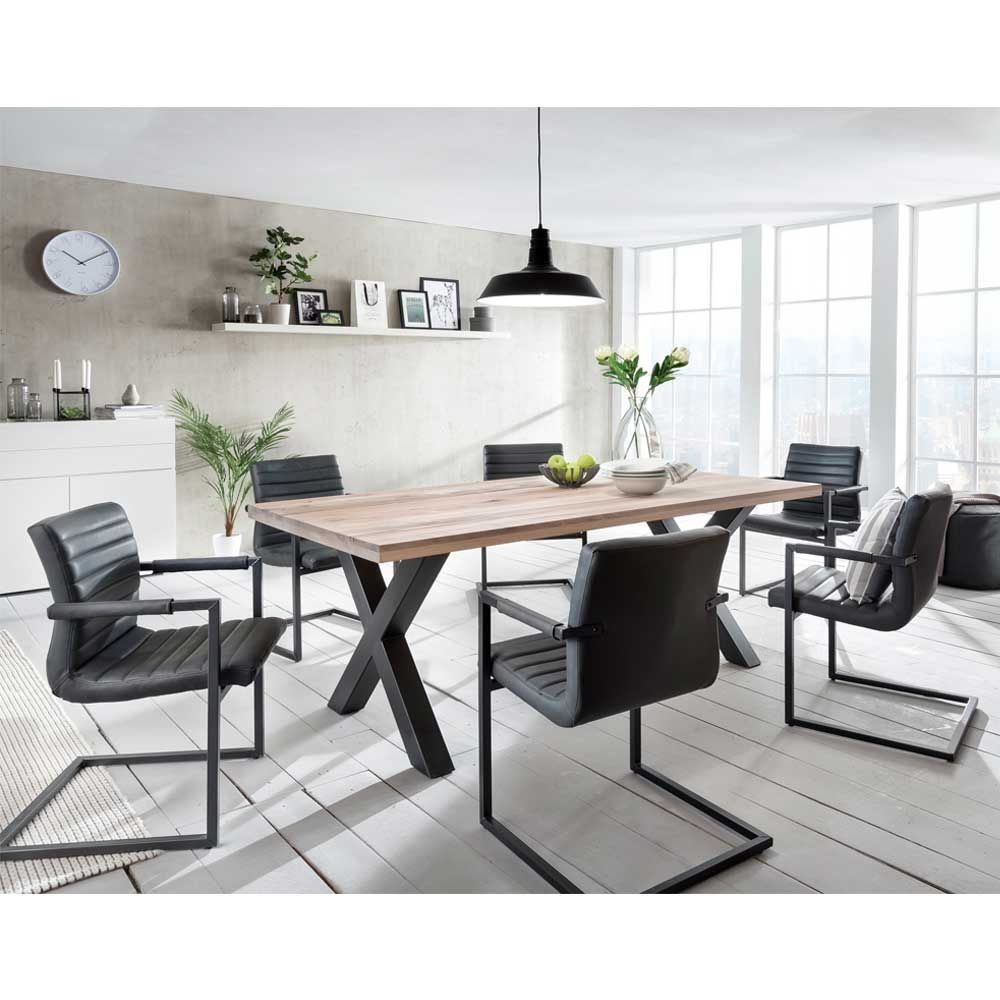 esstisch mit st hlen im loft design anthrazit eiche massiv. Black Bedroom Furniture Sets. Home Design Ideas