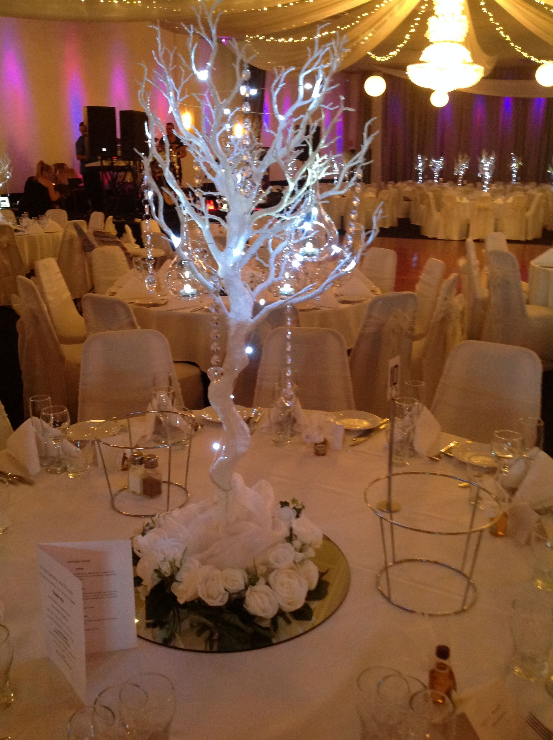 Tree Table Centrepiece Decorated With Fairy Lights And Crystal Beads Www Houseofthebride Com Au Fairy Lights Decor Table Centerpieces Fairy Lights