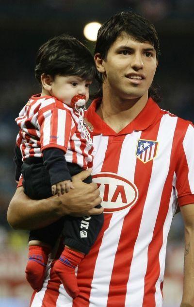 sergio kun aguero with his son benjamin his wife is