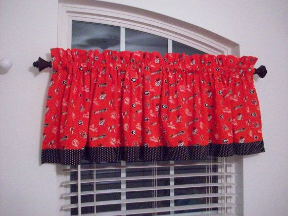Ga Bulldog Valance Custom Boutique Lined Red By Windowtoppings