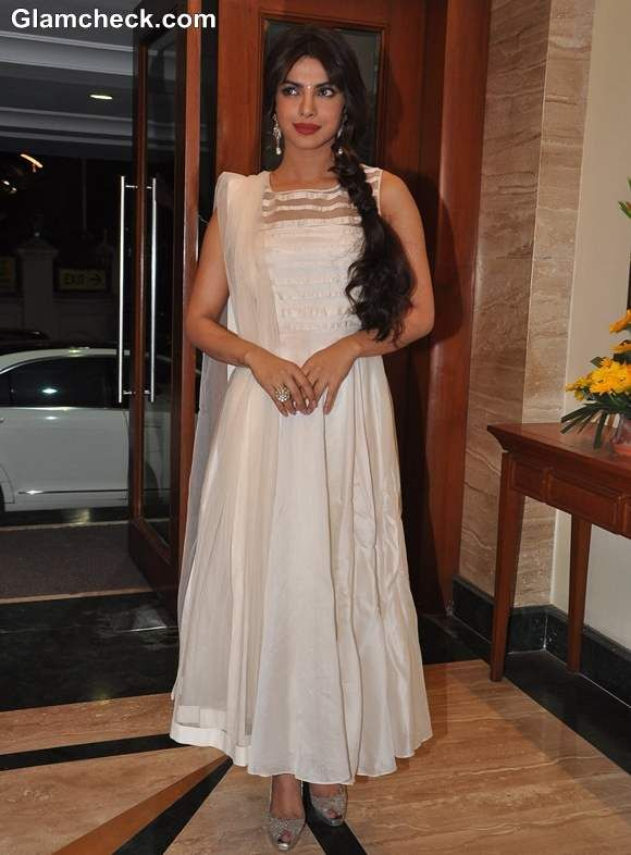 75e75ceb096 Priyanka Chopra in white anarkali suit