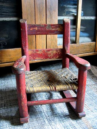Awesome Childs Red Rocking Chair Primitive Antique Red Ncnpc Chair Design For Home Ncnpcorg