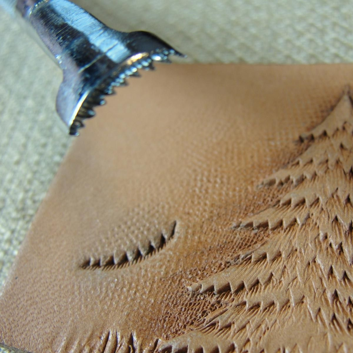 Early Craftool Company Leather Stamp - F912L Figure Carving Pine Tree Tool