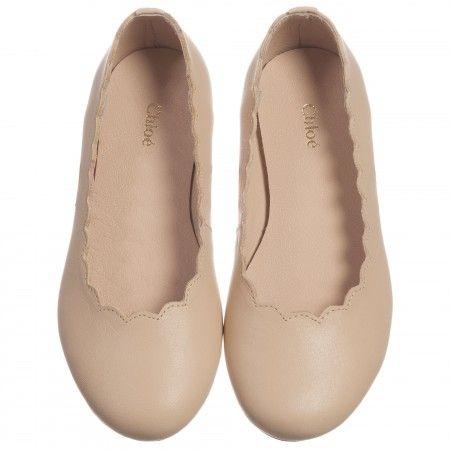 Chloé - Beige Leather Ballerina Shoes | girls