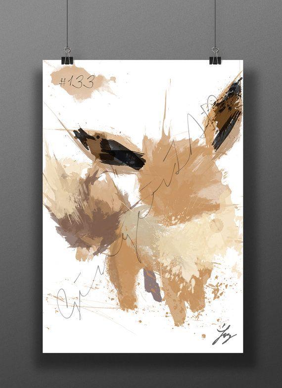 Eevee Art Print | Digital Watercolor Poster | Kids Nursery Nerd