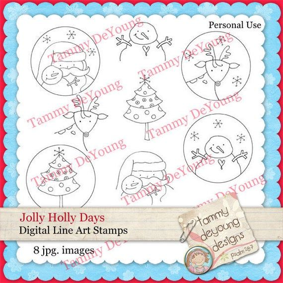 Christmas Clip Art, Christmas Coloring pages, Digital stamps, Santa, Tree Snowman, Reindeer for scra