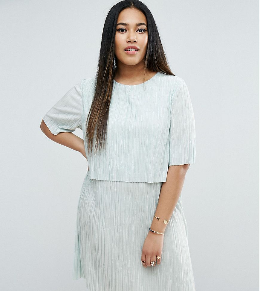 Tea length wedding dress patterns to sew  ASOS CURVE Double Layer TShirt Dress in Plisse  Green  Products