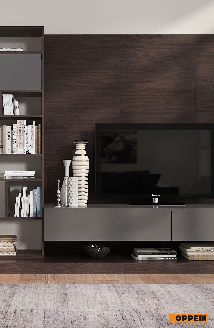 This contemporary design dark wood TV cabinet is made of melamine ...
