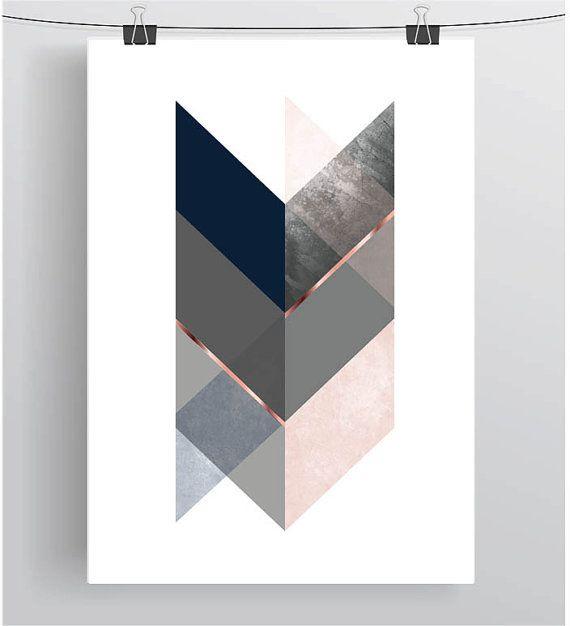 Navy Pink Print Navy Blush Wall Art Scandinavian Print Chevron Geometric Art Art Abstract