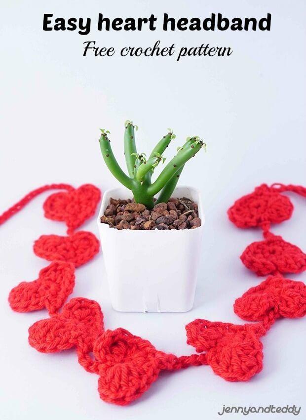 Easy crazy cute tiny small crochet heart headband free pattern by ...