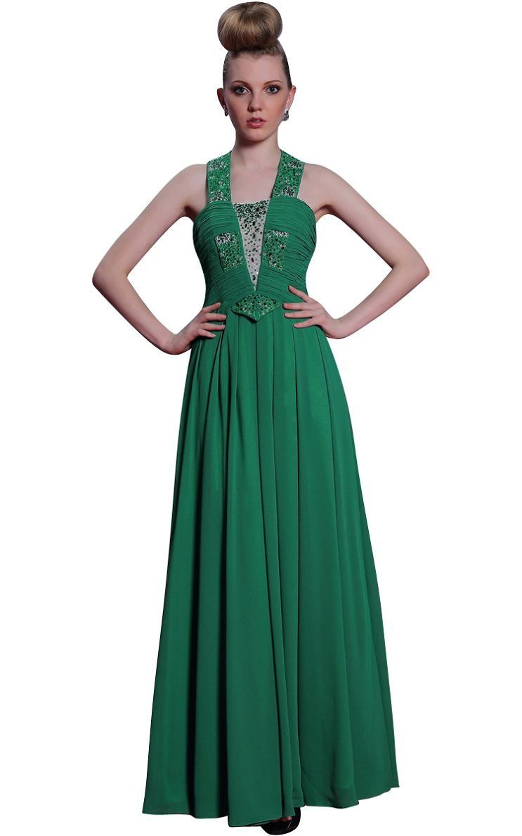 Beautyemily ruffles rhinestone evening long dress chiffon
