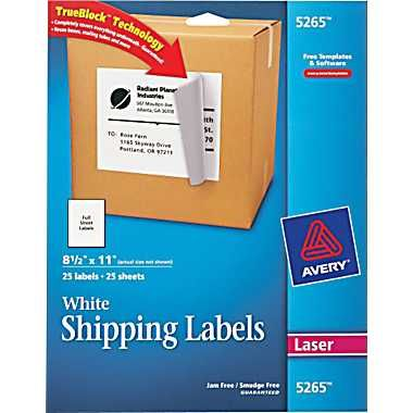 Avery 5265 White Laser Full Sheet Labels With Trueblock 8 1 2 X 11 25 Box At Staples Sheet Labels Avery Shipping Labels Shipping Labels