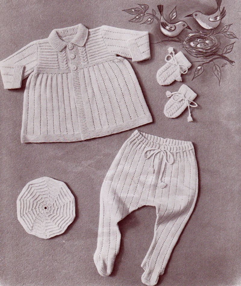 Cherub pram set. Cardigan, leggings, beret and mittens. | Babies and ...
