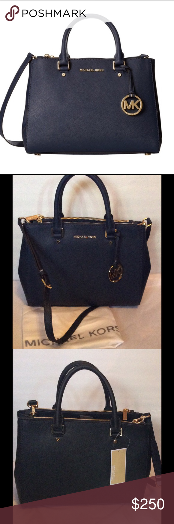 """Authentic Michael Kors Leather Satchel Navy NWT This classic Michael Kors satchel showcases a timeless black leather construction with goldtone hardware. With a magnetic top closure, double handles, and ample interior pockets for organization, this handbag will become your go-to accessory.   Construction: Leather Entry: Magnetic top closure Interior pockets: Two (2) side zip compartments, one (1) open compartment with zip pocket, four (4) slip pockets, one (1) key fob Bag dimensions: 9"""" x…"""