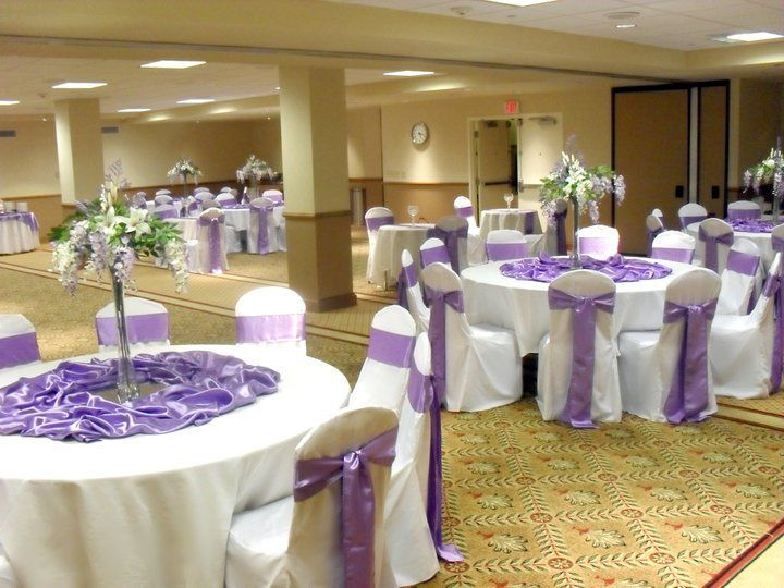 Lilac, White and Silver Wedding Reception at the Hilton in N ...