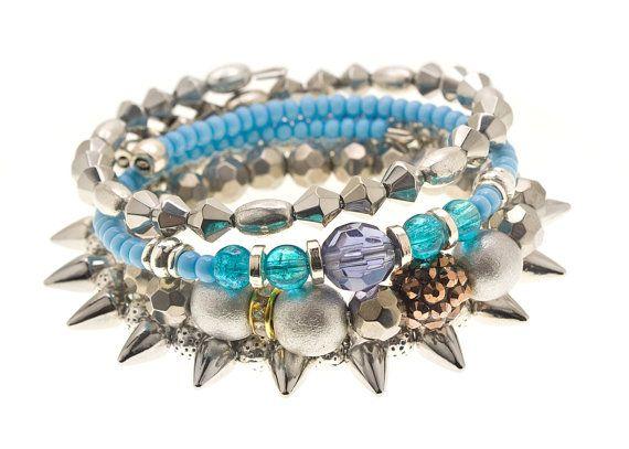 Expandable Bangle Wrap bracelet Beaded Bangle by HMarieJewelry