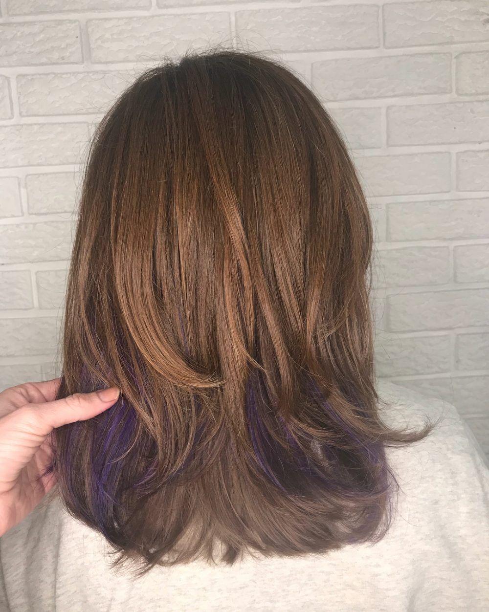 Purple Peekaboos Hairstyle Peekaboo Hair Peekaboo Highlights Chocolate Brown Hair