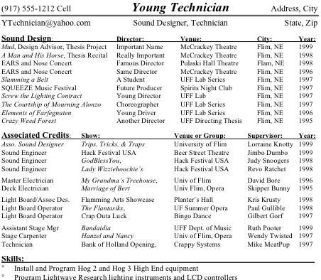 Technical Theatre Resume  College    Stage Management