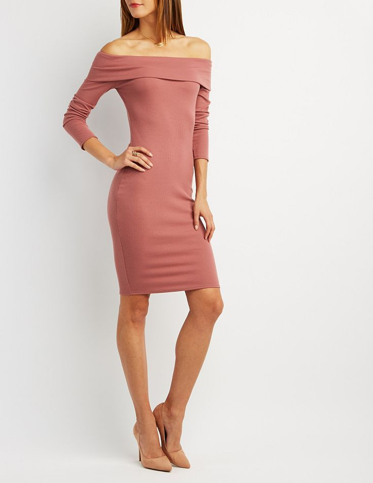 8c3b6da99a59 Pink Off-the-Shoulder Bodycon Dress by Charlotte Russe ...