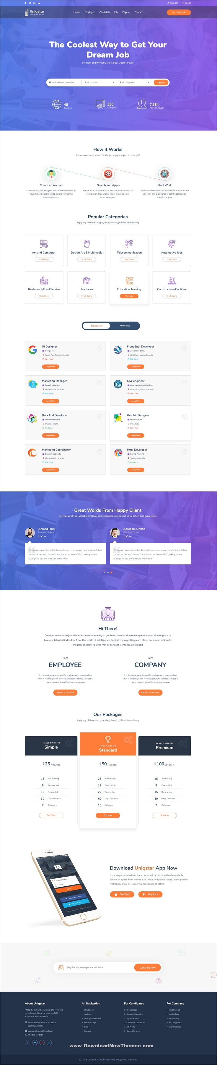 Uniqstar Is A Clean And Modern Design Psd Template For Job Board And Recruitment Agencies Professional Website With Jobs Companies Candidates Listing Pa