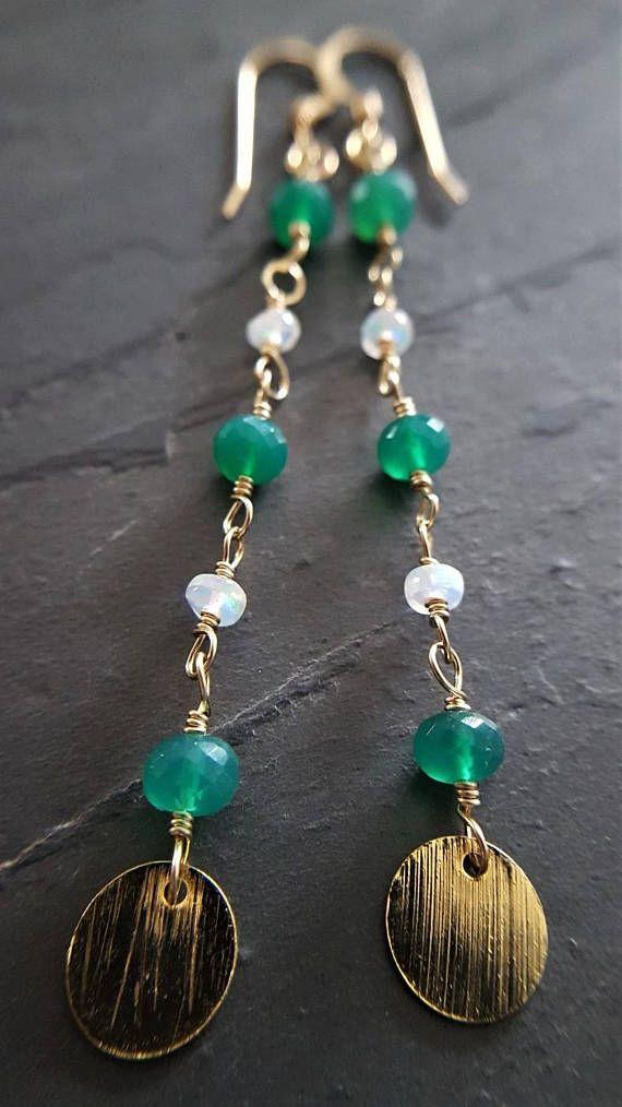 2591c9e08e52e Green Onyx And Opal Earrings, Green Onyx, Ethiopian Opal, Gold ...
