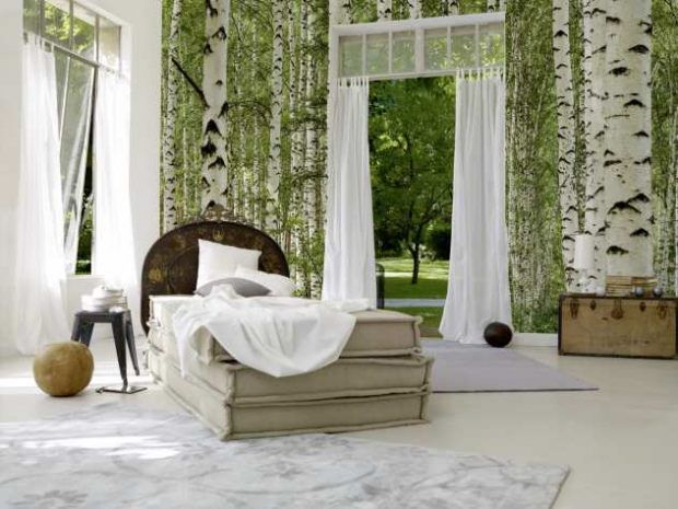 Schlafzimmer Mit Bett Aus Matrazen-Nachttisch-Grün-Birke-Weiß