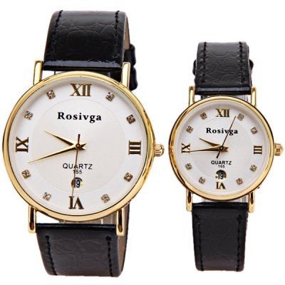 $9.16 (Buy here: http://appdeal.ru/b8ed ) Rosivga Couple's Watch with Quartz Round Dial Leather Watchband for just $9.16