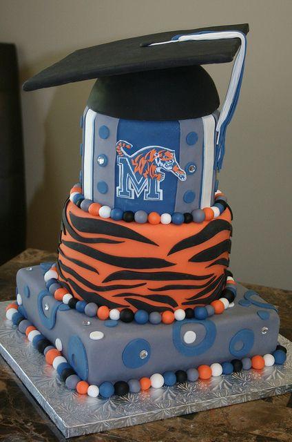 Fine Memphis Tigers Grad Cake Graduation Cakes Memphis Tigers Tiger Funny Birthday Cards Online Overcheapnameinfo