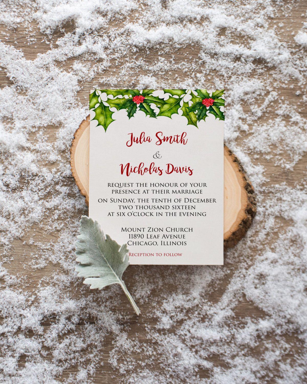 Winter Wedding Invitation, Christmas Wedding Invitation, Holiday ...