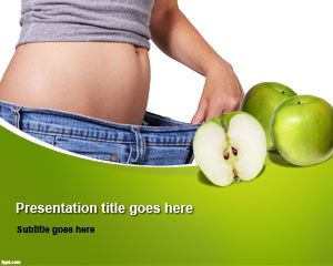 Free low calorie diets powerpoint template with green apple fruit in free low calorie diets powerpoint template with green apple fruit in the slide design and woman toneelgroepblik Gallery
