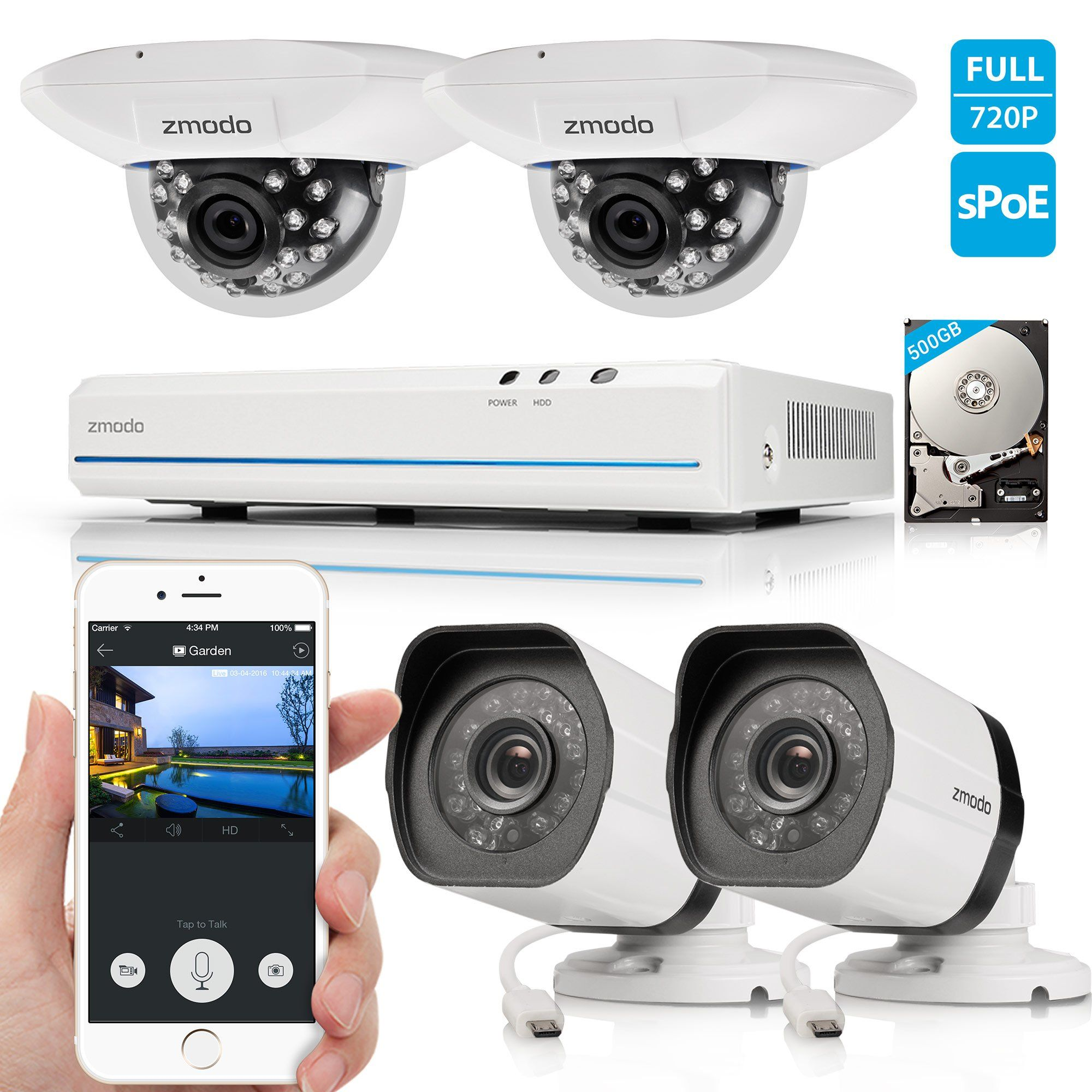 Zmodo 8CH 720P HD Network Home Security Camera System with 2x ...