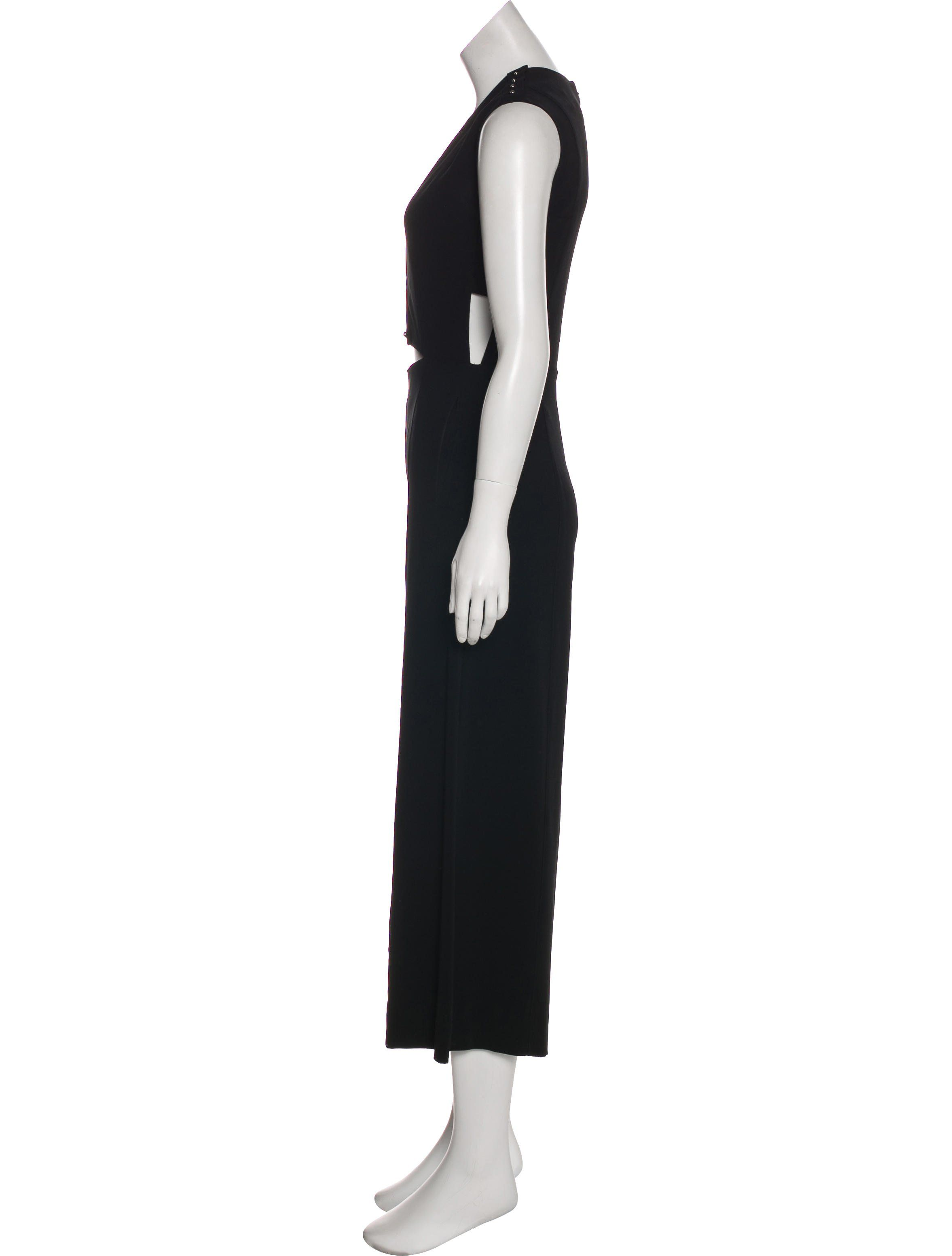 1de63ac295cd Black Derek Lam 10 Crosby Cut-Out Deep V-Neck Sleeveless Jumpsuit with tonal