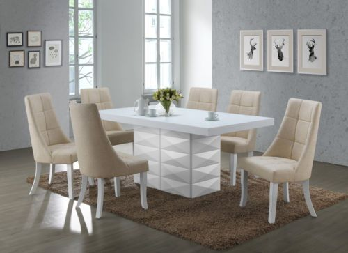 Inspirational Kings Brand 7 Piece White Modern Dinette Dining Room Table with Beige Chairs For Your Plan - Simple Elegant modern dinette sets Elegant