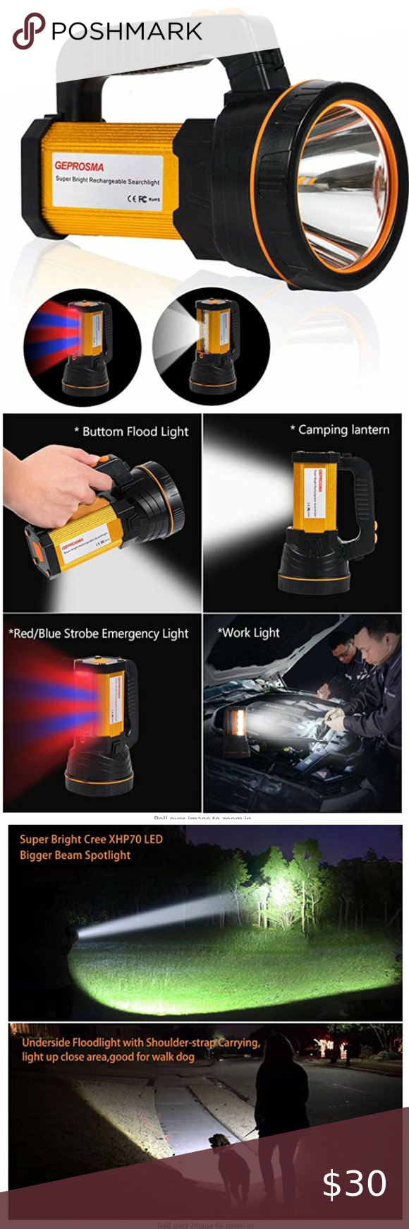 High Lumen Rechargeable Spotlight Flashlight 1 2020 High Power Handheld Multifunctions Led Flashlight Super Bright Heavy Duty Led S