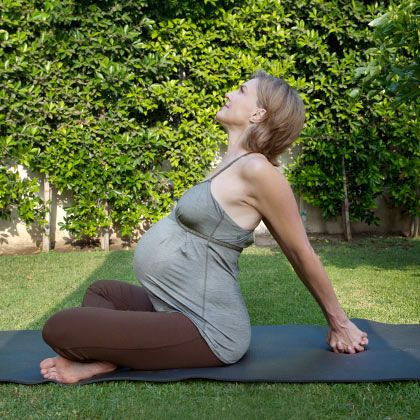 prenatal yoga poses  hands claps behind back  yoga