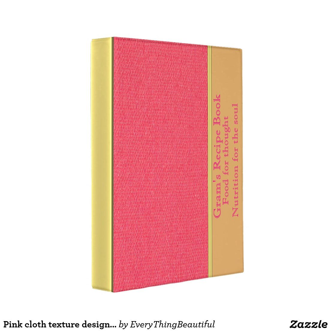 Pink cloth texture design with a gold stripe bar  mini binder is part of Pink Clothes Texture - Pink cloth texture recipe book design  With a gold stripe bar texture down the back of the binder  On this vinyl binder