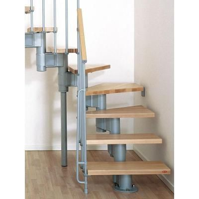 Arke Kompact 35 In Grey Modular Staircase L Kit K35025 The   Spiral Staircase Home Depot   Steel   90 Degree   Alternating Tread   Outdoor   Small Metal